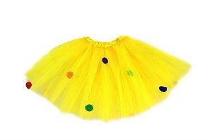 Saia Tule Bolinhas Amarela Infantil