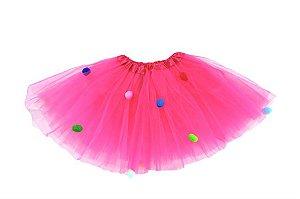 Saia Tule Bolinhas Pink Infantil
