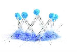 Coroa com plumas e bolinhas azul