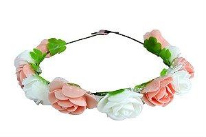 Coroa Flores Rosa e Branco