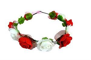 Coroa Flores vermelho e branco