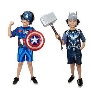 Fantasias Capitão América e Thor com Martelo e Escudo