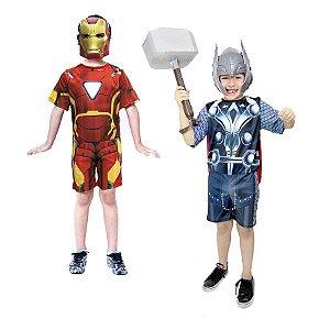 Fantasia H.de Ferro e Thor com Martelo Vingadores Avengers