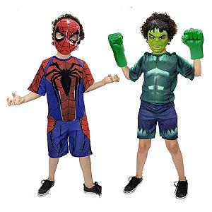 Fantasia Hulk C/ Luvas E Homem Aranha Vingadores E Mascaras