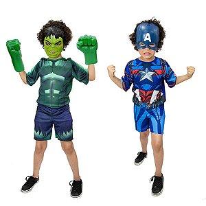 Fantasia Hulk C/ Luvas E Capitão America E Mascaras Meninos