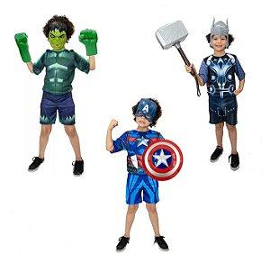 Fantasia Hulk Luvas, Capitão America C/escudo Thor Martelo