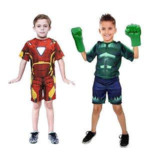 Fantasia Hulk C/ Luvas E Homem De Ferro Vingadores Ultimato
