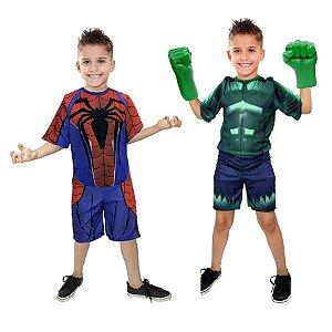 Fantasia Hulk C/ Luvas E Homem Aranha Vingadores Ultimato