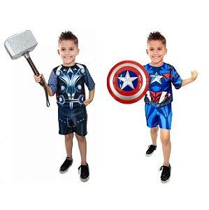 Fantasia Thor C/ Martelo E Capitão America C/ Escudo Avengers