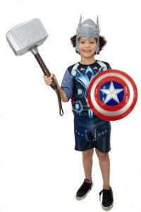 Fantasia Thor Infantil Com Martelo E Mascara E Escudo