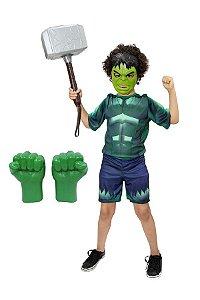 Fantasia Hulk Com Luva E Mascara Martelo Thor Vingadores