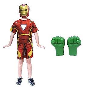 Fantasia Homem De Ferro Com Mascara E Luvas Do Hulk Vingador