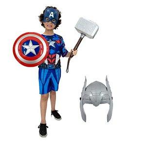 Fantasia Capitão America Com 2 Mascaras, Escudo E Martelo