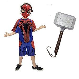 Fantasia Homem Aranha Com Mascara E Martelo Thor Ultimato
