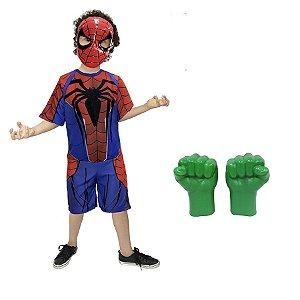 Fantasia Homem Aranha Com Mascara, Luvas Do Hulk Vingadores