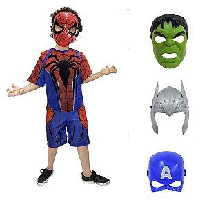 Fantasia Homem Aranha Com Kit 4 Mascaras Vingadores Ultimato
