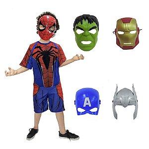 Fantasia Homem Aranha C/ Kit 5 Mascaras Vingadores