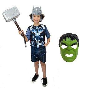 Fantasia Thor Com Martelo E 2 Mascaras Avengers Ultimato