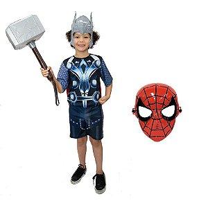 Fantasia Thor Com Martelo E 2 Mascaras Avengers Vingadores