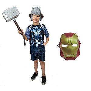 Fantasia Thor Com Martelo E 2 Mascaras Herois Avengers