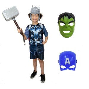 Fantasia Thor Com Martelo E 3 Mascaras Avengers Ultimato