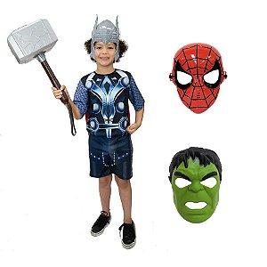 Fantasia Thor Com Martelo E 3 Mascaras Avengers Vingadores