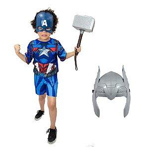 Fantasia Capitão America Com Martelo Thor E 2 Mascaras Heroi