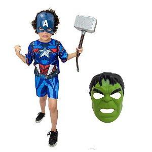 Fantasia Capitão America Com Martelo Thor E 2 Mascaras Inf