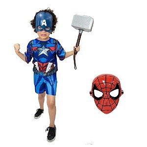 Fantasia Capitão America Com Martelo Thor E Kit 2 Mascaras