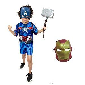 Fantasia Capitão America C/ Martelo Thor E Mascaras Kit 2