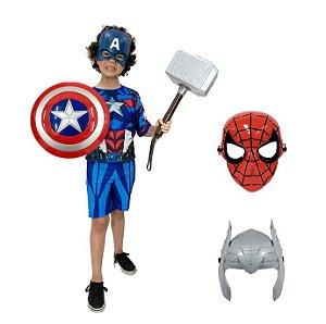 Fantasia Capitão America Com Escudo, Martelo Thor