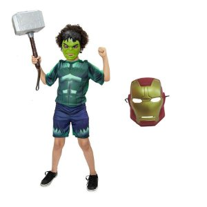 Fantasia Hulk C/ Martelo Thor E Mascaras Avengers
