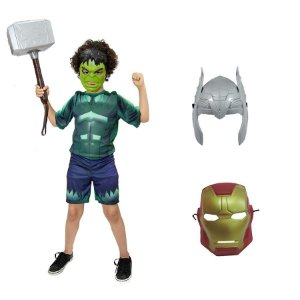 Fantasia Hulk Com Martelo Thor E 3 Mascaras Avengers
