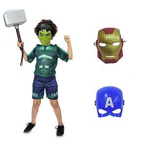 Fantasia Hulk Com Martelo Thor E 3 Mascaras Vingadores