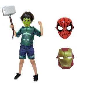 Fantasia Hulk C/3 Mascaras Hulk Homem De Ferro E H Aranha