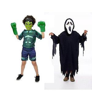 Fantasia Hulk Com Luvas E Panico Halloween Infantil