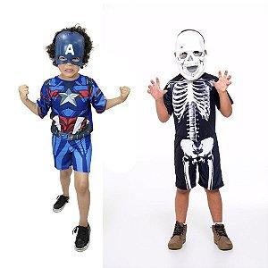 Fantasia Capitão America E Esqueleto Halloween Infantil