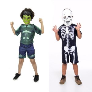Fantasia Hulk Avengers E Esqueleto Halloween Infantil
