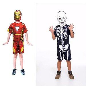 Fantasia Homem De Ferro E Esqueleto Halloween Infantil
