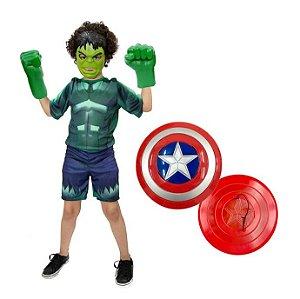 Fantasia Hulk Com Luvas E Mascara + Escudo Capitão America