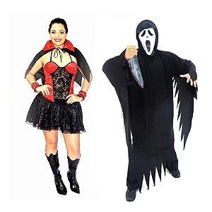 Fantasia Vampira E Panico Adulto Halloween Com Faca Brinquedo