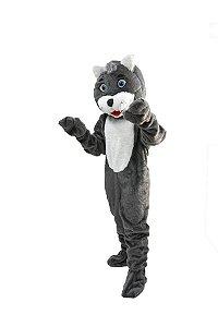 Mascote Gato Cinza Pelúcia