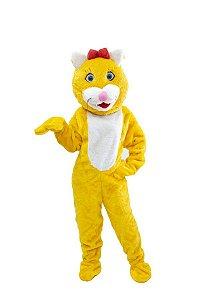 Mascote Gata Amarela Pelúcia