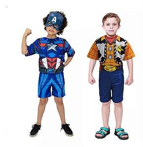 Fantasia Capitão America C/ Mascara E Xerife Woody Toy Story