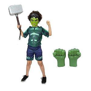 Fantasia Hulk Com Luvas E Mascara + Martelo Thor Vingadores