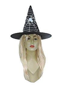 Chapéu de Bruxa Preto Liso Teia de Aranha