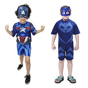 Fantasia Capitão America E 2 Mascaras Menino Gato Infantil