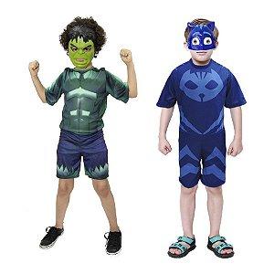 Fantasia Hulk Avengers E Menino Gato 2 Mascaras