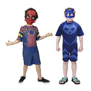 Fantasia Homem Aranha E Menino Gato C/ 2 Mascaras Infantil