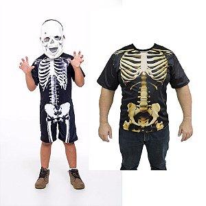 Fantasia Esqueleto Infantil E Camiseta Caveira Adulto Hallow